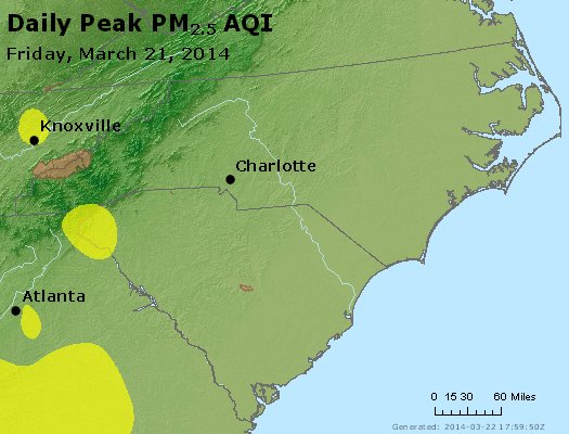 Peak Particles PM<sub>2.5</sub> (24-hour) - https://files.airnowtech.org/airnow/2014/20140321/peak_pm25_nc_sc.jpg