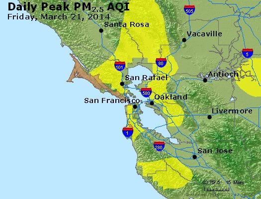 Peak Particles PM<sub>2.5</sub> (24-hour) - https://files.airnowtech.org/airnow/2014/20140321/peak_pm25_sanfrancisco_ca.jpg