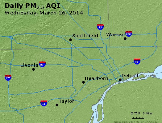 Peak Particles PM<sub>2.5</sub> (24-hour) - https://files.airnowtech.org/airnow/2014/20140326/peak_pm25_detroit_mi.jpg