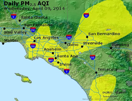 Peak Particles PM<sub>2.5</sub> (24-hour) - https://files.airnowtech.org/airnow/2014/20140409/peak_pm25_losangeles_ca.jpg