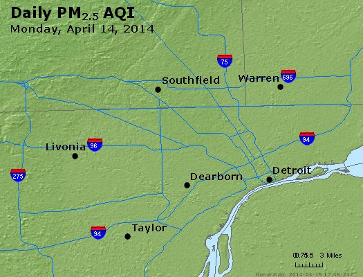 Peak Particles PM<sub>2.5</sub> (24-hour) - https://files.airnowtech.org/airnow/2014/20140414/peak_pm25_detroit_mi.jpg