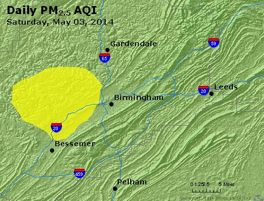 Peak Particles PM<sub>2.5</sub> (24-hour) - https://files.airnowtech.org/airnow/2014/20140503/peak_pm25_birmingham_al.jpg