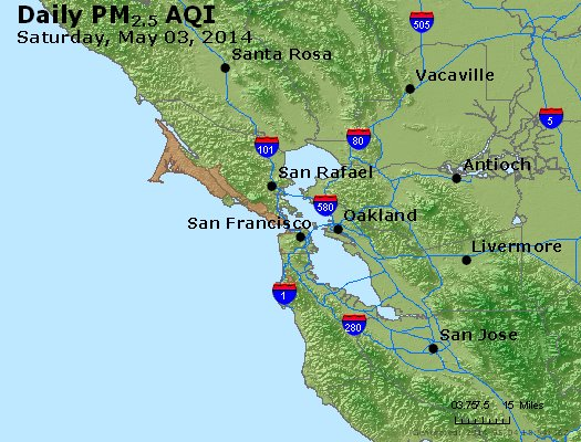 Peak Particles PM<sub>2.5</sub> (24-hour) - https://files.airnowtech.org/airnow/2014/20140503/peak_pm25_sanfrancisco_ca.jpg