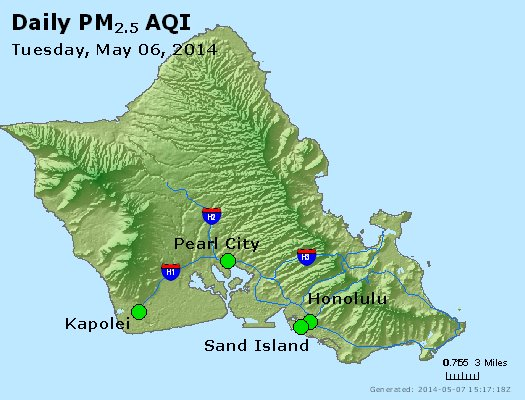 Peak Particles PM<sub>2.5</sub> (24-hour) - https://files.airnowtech.org/airnow/2014/20140506/peak_pm25_honolulu_hi.jpg