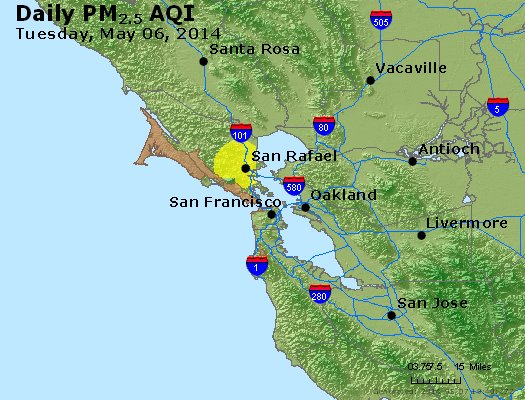 Peak Particles PM<sub>2.5</sub> (24-hour) - https://files.airnowtech.org/airnow/2014/20140506/peak_pm25_sanfrancisco_ca.jpg