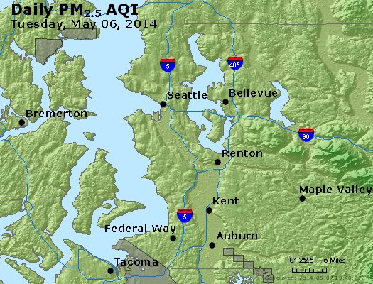 Peak Particles PM<sub>2.5</sub> (24-hour) - https://files.airnowtech.org/airnow/2014/20140506/peak_pm25_seattle_wa.jpg