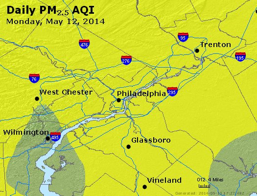 Peak Particles PM<sub>2.5</sub> (24-hour) - https://files.airnowtech.org/airnow/2014/20140512/peak_pm25_philadelphia_pa.jpg