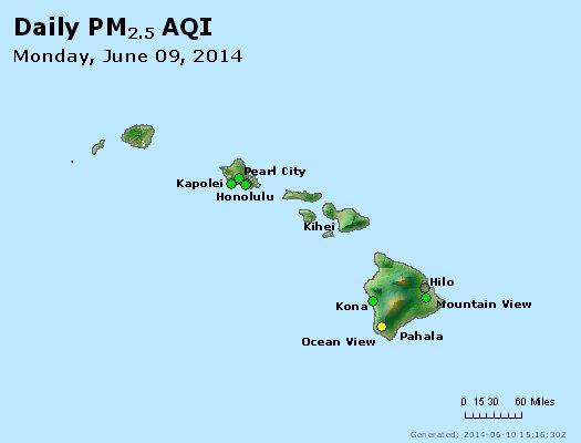 Peak Particles PM<sub>2.5</sub> (24-hour) - https://files.airnowtech.org/airnow/2014/20140609/peak_pm25_hawaii.jpg