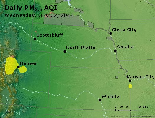 Peak Particles PM<sub>2.5</sub> (24-hour) - https://files.airnowtech.org/airnow/2014/20140702/peak_pm25_ne_ks.jpg