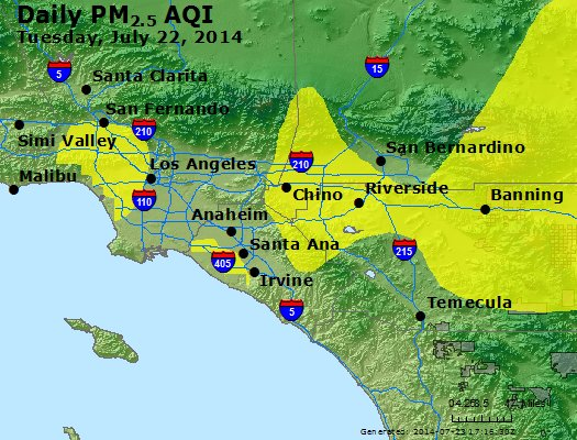 Peak Particles PM<sub>2.5</sub> (24-hour) - https://files.airnowtech.org/airnow/2014/20140722/peak_pm25_losangeles_ca.jpg