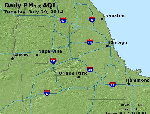 Peak Particles PM<sub>2.5</sub> (24-hour) - https://files.airnowtech.org/airnow/2014/20140729/peak_pm25_chicago_il.jpg