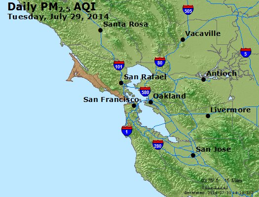 Peak Particles PM<sub>2.5</sub> (24-hour) - https://files.airnowtech.org/airnow/2014/20140729/peak_pm25_sanfrancisco_ca.jpg