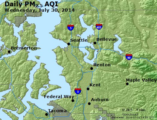 Peak Particles PM<sub>2.5</sub> (24-hour) - https://files.airnowtech.org/airnow/2014/20140730/peak_pm25_seattle_wa.jpg