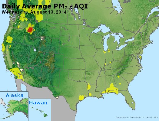 Peak Particles PM<sub>2.5</sub> (24-hour) - https://files.airnowtech.org/airnow/2014/20140813/peak_pm25_usa.jpg