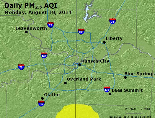 Peak Particles PM<sub>2.5</sub> (24-hour) - https://files.airnowtech.org/airnow/2014/20140818/peak_pm25_kansascity_mo.jpg