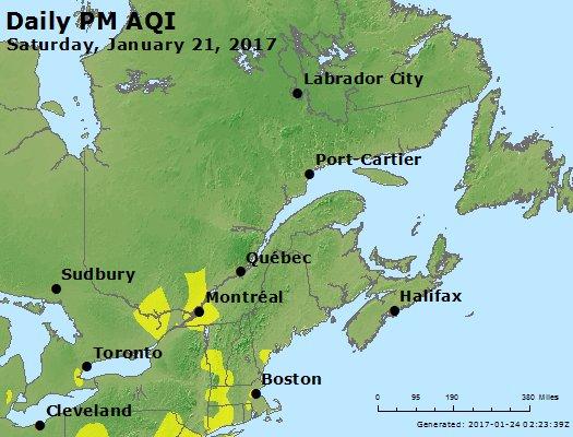 Peak Particles PM<sub>2.5</sub> (24-hour) - https://files.airnowtech.org/airnow/2017/20170121/peak_pm25_eastern_canada.jpg