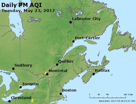 Peak Particles PM<sub>2.5</sub> (24-hour) - https://files.airnowtech.org/airnow/2017/20170523/peak_pm25_eastern_canada.jpg