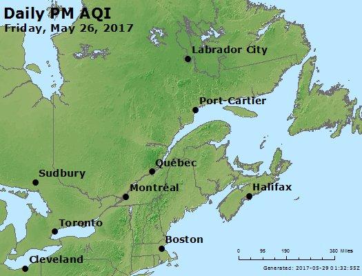 Peak Particles PM<sub>2.5</sub> (24-hour) - https://files.airnowtech.org/airnow/2017/20170526/peak_pm25_eastern_canada.jpg