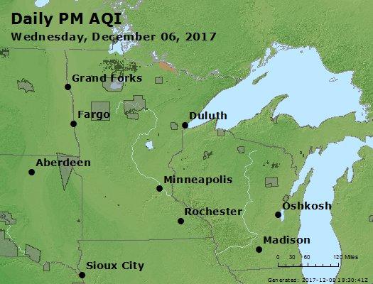 Peak Particles PM2.5 (24-hour) - https://files.airnowtech.org/airnow/2017/20171206/peak_pm25_mn_wi.jpg