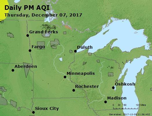 Peak Particles PM2.5 (24-hour) - https://files.airnowtech.org/airnow/2017/20171207/peak_pm25_mn_wi.jpg