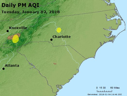 Peak Particles PM2.5 (24-hour) - https://files.airnowtech.org/airnow/2018/20180102/peak_pm25_nc_sc.jpg