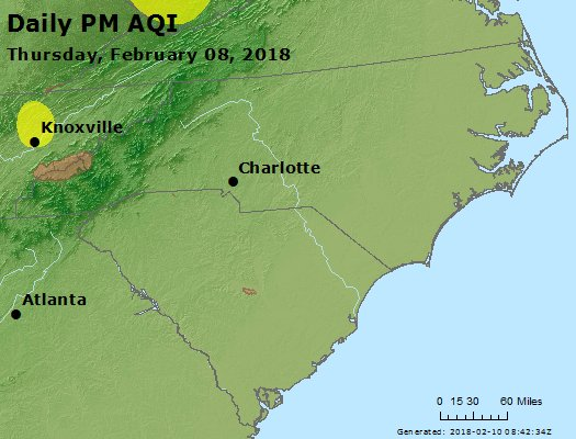 Peak Particles PM2.5 (24-hour) - https://files.airnowtech.org/airnow/2018/20180208/peak_pm25_nc_sc.jpg