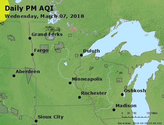 Peak Particles PM2.5 (24-hour) - https://files.airnowtech.org/airnow/2018/20180307/peak_pm25_mn_wi.jpg