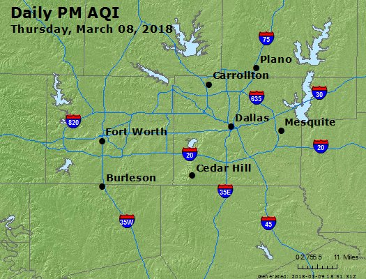 Peak Particles PM2.5 (24-hour) - https://files.airnowtech.org/airnow/2018/20180308/peak_pm25_dallas_tx.jpg