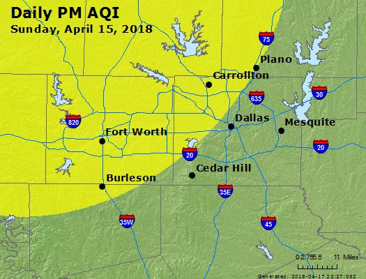 Peak Particles PM2.5 (24-hour) - https://files.airnowtech.org/airnow/2018/20180415/peak_pm25_dallas_tx.jpg