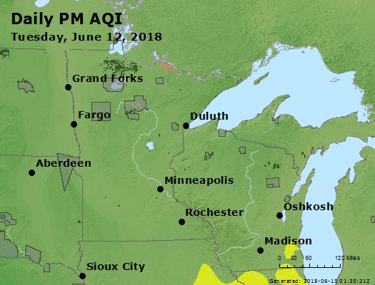 Peak Particles PM2.5 (24-hour) - https://files.airnowtech.org/airnow/2018/20180612/peak_pm25_mn_wi.jpg