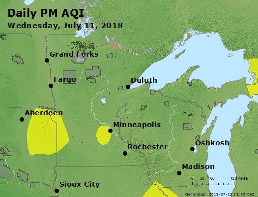 Peak Particles PM2.5 (24-hour) - https://files.airnowtech.org/airnow/2018/20180711/peak_pm25_mn_wi.jpg