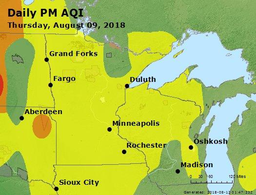 Peak Particles PM2.5 (24-hour) - https://files.airnowtech.org/airnow/2018/20180809/peak_pm25_mn_wi.jpg