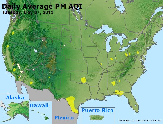 Peak Particles PM2.5 (24-hour) - https://files.airnowtech.org/airnow/2019/20190507/peak_pm25_usa.jpg