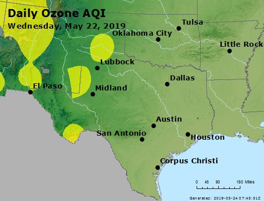 Peak Ozone (8-hour) - https://files.airnowtech.org/airnow/2019/20190522/peak_o3_tx_ok.jpg