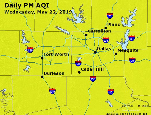 Peak Particles PM2.5 (24-hour) - https://files.airnowtech.org/airnow/2019/20190522/peak_pm25_dallas_tx.jpg