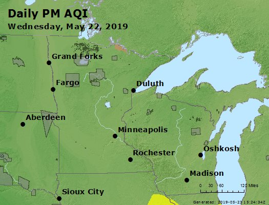 Peak Particles PM2.5 (24-hour) - https://files.airnowtech.org/airnow/2019/20190522/peak_pm25_mn_wi.jpg