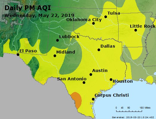 Peak Particles PM2.5 (24-hour) - https://files.airnowtech.org/airnow/2019/20190522/peak_pm25_tx_ok.jpg