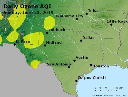 Peak Ozone (8-hour) - https://files.airnowtech.org/airnow/2019/20190623/peak_o3_tx_ok.jpg