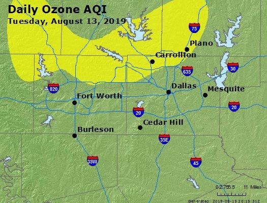 Peak Ozone (8-hour) - https://files.airnowtech.org/airnow/2019/20190813/peak_o3_dallas_tx.jpg