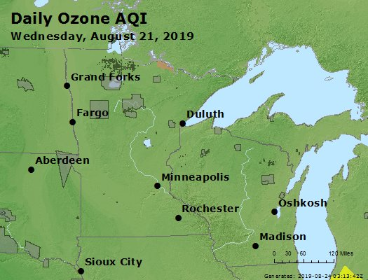 Peak Ozone (8-hour) - https://files.airnowtech.org/airnow/2019/20190821/peak_o3_mn_wi.jpg
