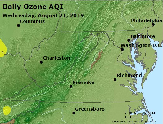Peak Ozone (8-hour) - https://files.airnowtech.org/airnow/2019/20190821/peak_o3_va_wv_md_de_dc.jpg