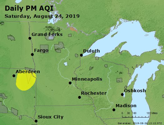 Peak Particles PM2.5 (24-hour) - https://files.airnowtech.org/airnow/2019/20190824/peak_pm25_mn_wi.jpg