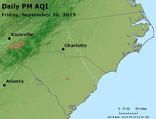 Peak Particles PM2.5 (24-hour) - https://files.airnowtech.org/airnow/2019/20190920/peak_pm25_nc_sc.jpg