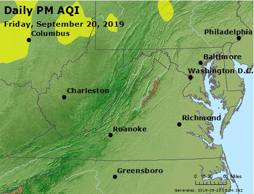Peak Particles PM2.5 (24-hour) - https://files.airnowtech.org/airnow/2019/20190920/peak_pm25_va_wv_md_de_dc.jpg