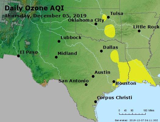Peak Ozone (8-hour) - https://files.airnowtech.org/airnow/2019/20191205/peak_o3_tx_ok.jpg