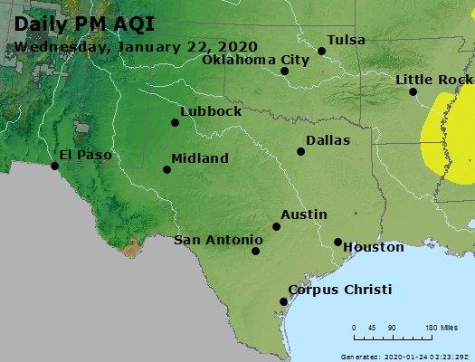 Peak Particles PM2.5 (24-hour) - https://files.airnowtech.org/airnow/2020/20200122/peak_pm25_tx_ok.jpg