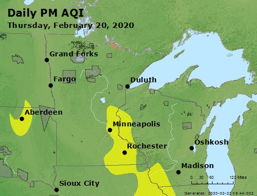 Peak Particles PM2.5 (24-hour) - https://files.airnowtech.org/airnow/2020/20200220/peak_pm25_mn_wi.jpg