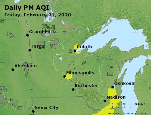 Peak Particles PM2.5 (24-hour) - https://files.airnowtech.org/airnow/2020/20200221/peak_pm25_mn_wi.jpg