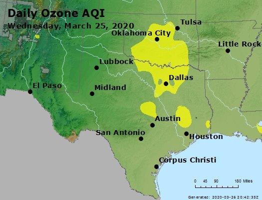 Peak Ozone (8-hour) - https://files.airnowtech.org/airnow/2020/20200325/peak_o3_tx_ok.jpg