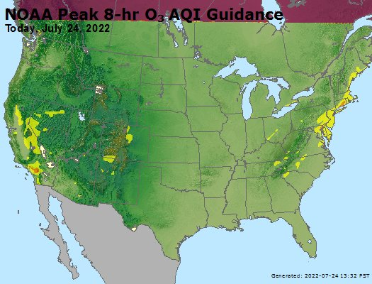 NOAA Peak 8-hr O3 AQI guidance - Today